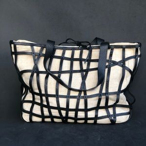 PALLIE BAGS leather and linen tote